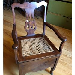 ANTIQUE CANE SEAT COMMODE CHAIR WITH ENAMEL POT