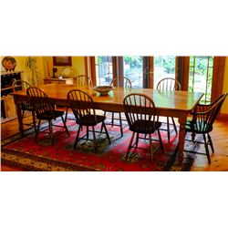 10' SOLID WOOD FARM HOUSE DINING TABLE WITH 8 CHAIRS, EXQUISITE