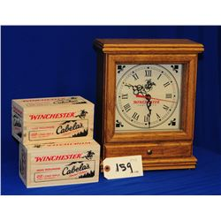 Winchester  Clock and Cabelas Wooden Ammo Box