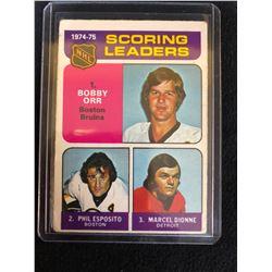 1975-76 Topps 1974-75 Scoring Leaders #210 Bobby Orr Phil Esposito Marcel Dionne