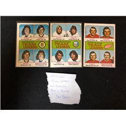 1975 OPC TEAM LEADERS (ORR/ ESPOSITO/ POTVIN/ DIONNE)