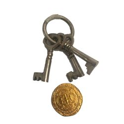 Pirates of the Caribbean Keys and Doubloon Movie Props
