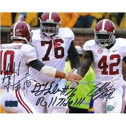 "Eddie Lacy, AJ McCarron  D.J. Fluker Signed Alabama 8x10 Photo Inscribed ""Roll Tide!!!"" (Radtke  Lac"