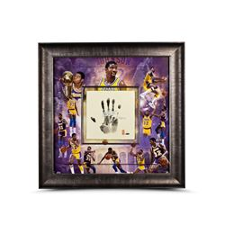 "Magic Johnson Signed LE Lakers 36x36 Custom Framed Tegata Handprint Display Inscribed ""HOF 02"" (UDA"
