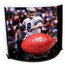Troy Aikman Signed NFL Official Game Ball Inscribed  HOF 06  with Custom Curve Display Case (Steiner