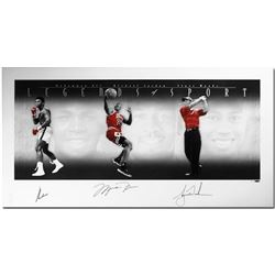 "Muhammad Ali, Michael Jordan  Tiger Woods Signed ""Legends of Sport"" 25x49 Platinum Photo Print LE 10"