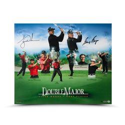 Tiger Woods  Gary Player Signed Double Major 20x24 Photo (UDA COA)