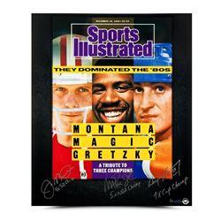 Joe Montana, Magic Johnson  Wayne Gretzky Signed 80's Dominance 20x24 SI Cover Print with (3) Inscri