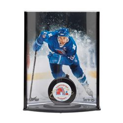Joe Sakic Signed Quebec Nordiques Puck with Photo Curve Display LE 25 (UDA COA)