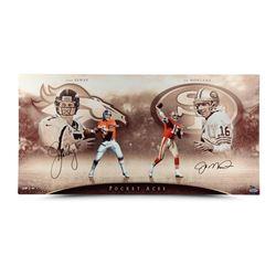 "John Elway  Joe Montana Signed ""Pocket Aces"" 15x30 Aluminum Print LE 50 (UDA COA)"