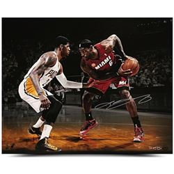 "LeBron James Signed Heat ""Match Up"" 16x20 Photo vs. Paul George (UDA COA)"