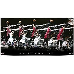 """LeBron James Signed Heat """"Posterized"""" 15x30 Photo (UDA COA)"""