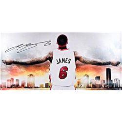 "LeBron James Signed ""Witness Miami II"" Heat 18x36 Photo (UDA COA)"