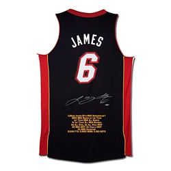"LeBron James Signed Heat LE ""10th Anniversary"" Highlight Stat Jersey (UDA COA)"