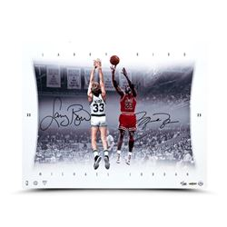 "Michael Jordan  Larry Bird Signed ""Match Up"" LE 16x20 Aluminum Print (UDA COA)"