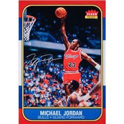 "Michael Jordan Signed Bulls ""Fleer Rookie Card Blow Up"" 12x17 Photo (UDA COA)"