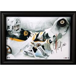Tim Thomas Signed Bruins LE 20x28 Custom Framed Hockey Puck Display (UDA COA)