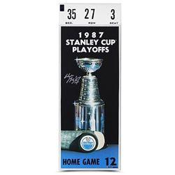 "Wayne Gretzky Signed Oilers ""'87 Stanley Cup Finals"" 12x32 Mega Ticket Canvas (UDA COA)"