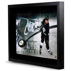 "Wayne Gretzky Signed Kings ""Slap Shot Break Through"" 16x24 Custom Framed Photo (UDA COA)"