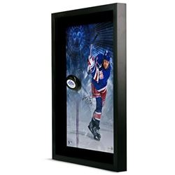 Wayne Gretzky Signed Rangers 16x24 Custom Framed Hockey Puck Display (UDA COA)