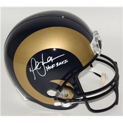 Marshall Faulk Signed Rams Full-Size Helmet Inscribed  HOF 20XI  (JSA COA)