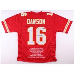 "Len Dawson Signed Chiefs Career Highlight Stat Jersey Inscribed ""SB IV MVP"" (JSA COA)"