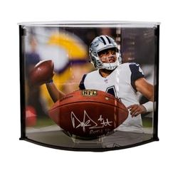 "Dak Prescott Signed LE ""The Duke"" Official NFL Game Ball Inscribed ""ROTY 16"" with Curve Display Case"