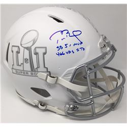 "Tom Brady Signed LE ""Super Bowl 51"" Custom Matte White ICE Full-Size Authentic On-Field Speed Helmet"