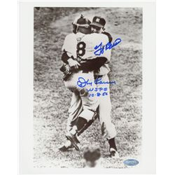 "Don Larsen  Yogi Berra Signed Yankees 8""x 10"" Photo Inscribed ""WSPG 10.8.56"" (Steiner Hologram)"