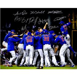 2016 Cubs World Series Champions 16x20 Photo Team-Signed by (9) with Kris Bryant, Anthony Rizzo, Jak