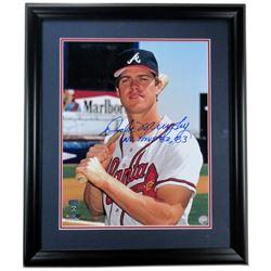 "Dale Murphy Signed Braves 23x27 Custom Framed Photo Display Inscribed ""NL MVP 82, 83"" (Radtke COA)"