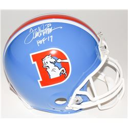 "Terrell Davis Signed Broncos Throwback Full-Size Authentic Helmet Inscribed ""HOF 17"" (Radtke COA)"