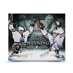 "Wayne Gretzky  Connor McDavid Signed Oilers ""Passion For Winning"" 20x24 Photo (UDA COA)"