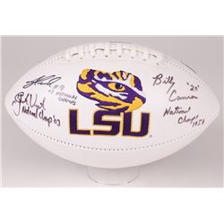 Billy Cannon, Justin Vincent  Jacob Hester Signed LSU Tigers Logo Football with National Championshi