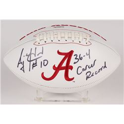 "AJ McCarron Signed Alabama Crimson Tide Logo Football Inscribed ""36-4 Career Record"" (Radtke Hologra"