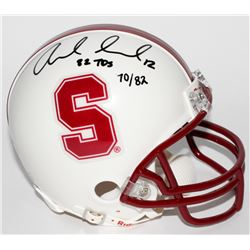 "Andrew Luck Signed LE Stanford Cardinal Mini-Helmet Inscribed ""82 TDS"" (Panini COA)"