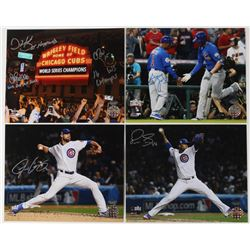 Lot of (4) Cubs 8x10 Photos with Chris Bosio, John Mallee, Dave Martinez, Justin Grimm, Gary Jones