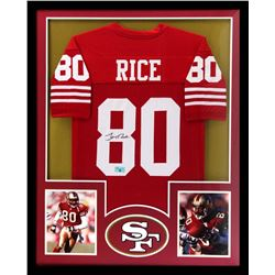 Jerry Rice Signed 49ers 34x42 Custom Framed Jersey (Radtke COA)