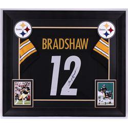 Terry Bradshaw Signed Steelers 31.5x36.5 Custom Framed Jersey (PSA COA)