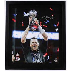 "Tom Brady Signed Patriots ""Super Bowl 51 Trophy"" 20x24 Custom Framed Photo Display (Steiner COA)"