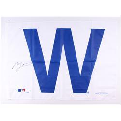 """Ben Zobrist Signed 28x41 Chicago Cubs """"W"""" Flag (Schwartz COA)"""