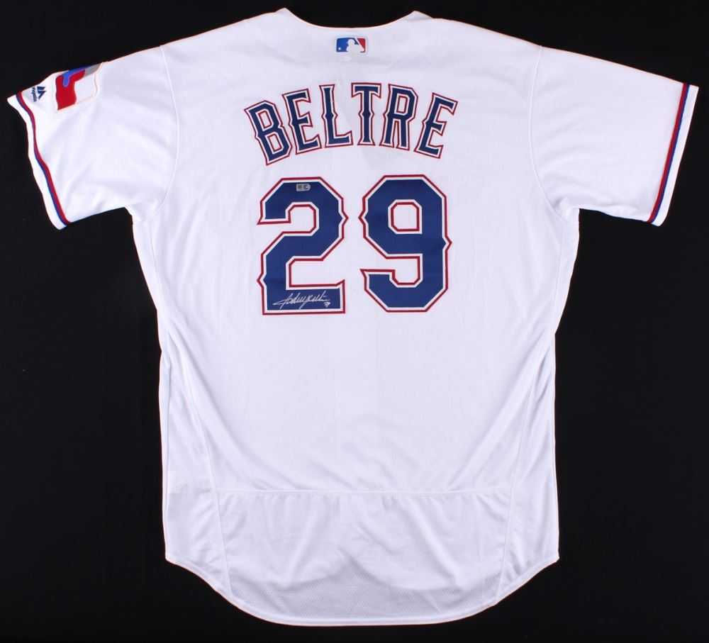 buy popular a65f5 8a965 Adrian Beltre Signed Rangers Majestic Authentic Jersey (MLB ...