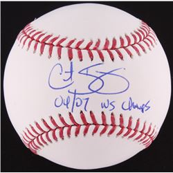 Curt Schilling Signed OML Baseball Inscribed  04/07 WS Champs  (MAB COA)