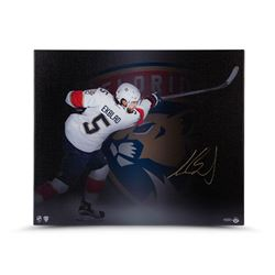 Aaron Ekblad Signed Panthers  Follow Through  20x24 Photo on Canvas (UDA COA)