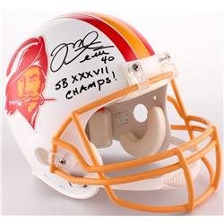 """Mike Alstott Signed Buccaneers Full-Size Authentic Throwback On-Field Helmet Inscribed """"SB XXXVII Ch"""