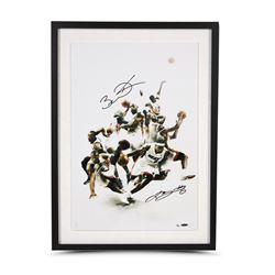 """LeBron James  Dwyane Wade Signed """"Scorpion"""" 16x24 Custom Framed Limited Edition Photo (UDA COA)"""