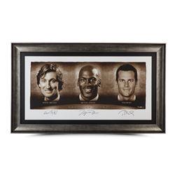"Wayne Gretzky, Michael Jordan  Tom Brady Signed ""Faces of Sports"" 34x58 Custom Framed Limited Editio"