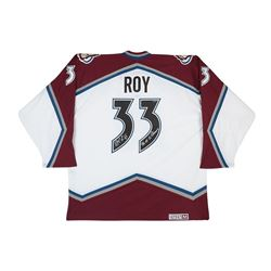 """Patrick Roy Signed Avalanche Jersey Inscribed """"96-01 SC Champs"""" (UDA COA)"""