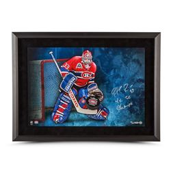 """Patrick Roy Signed Canadiens 16x24 Custom Framed Limited Edition Photo Inscribed """"4x SC Champs"""" (UDA"""