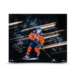 """Connor McDavid Signed Oilers 20x24 Photo Inscribed """"1st Playoff Goal 4/4/17"""" (UDA COA)"""